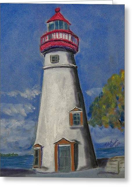 Lighthouse At Marblehead Greeting Card by Richard Goohs