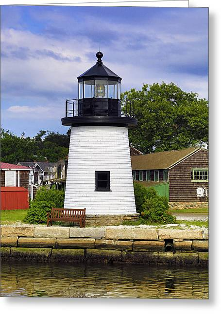 Lighthouse At Mystic Seaport Greeting Card