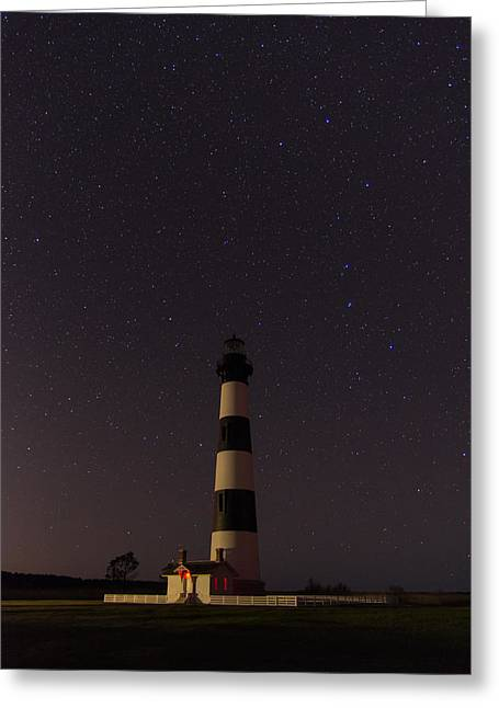 Greeting Card featuring the photograph Lighthouse At Night by Gregg Southard