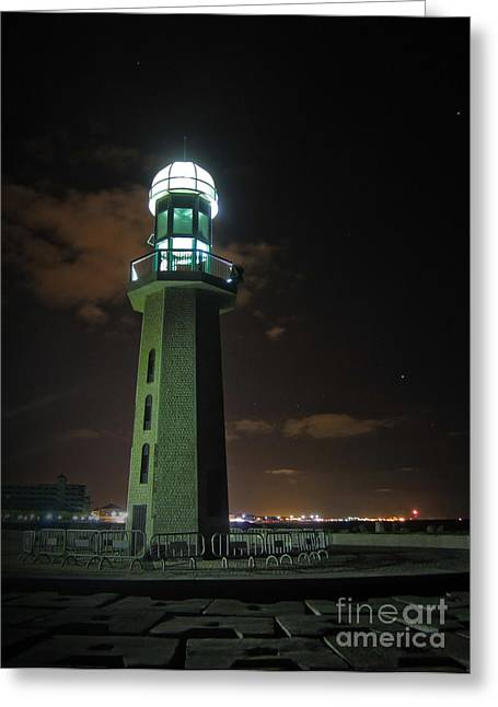 Greeting Card featuring the photograph Lighthouse At Night by Mohamed Elkhamisy