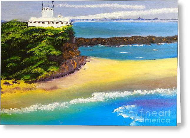Greeting Card featuring the painting Lighthouse At Nobbys Beach Newcastle Australia by Pamela  Meredith