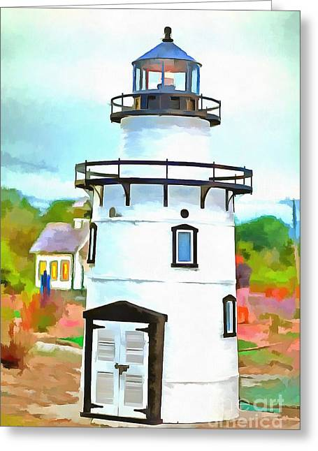 Lighthouse At Old Saybrook Point Greeting Card by Edward Fielding