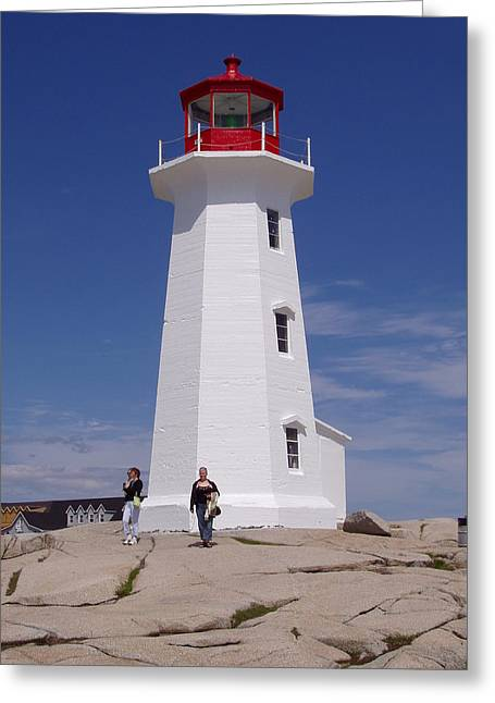 Lighthouse At Peggy's Cove Greeting Card by Brenda Anne Foskett
