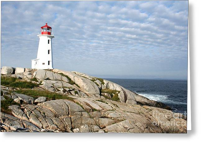 Lighthouse At Peggys Point Nova Scotia Greeting Card