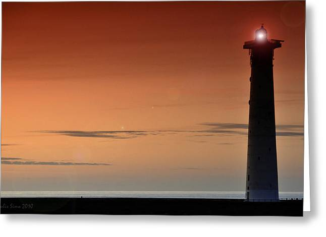 Greeting Card featuring the photograph Lighthouse At Sunrise by Julis Simo