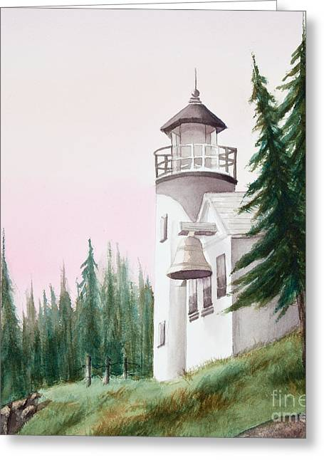 Lighthouse At Sunrise Greeting Card by Michelle Wiarda