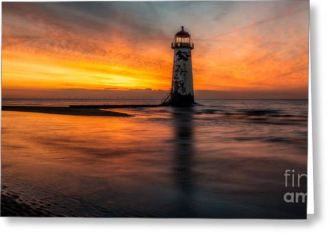 Lighthouse At Sunset Greeting Card by Adrian Evans