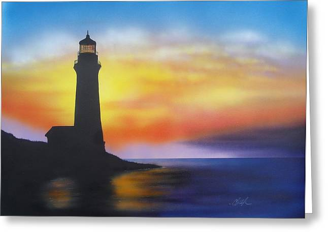 Greeting Card featuring the painting Lighthouse At Sunset by Chris Fraser