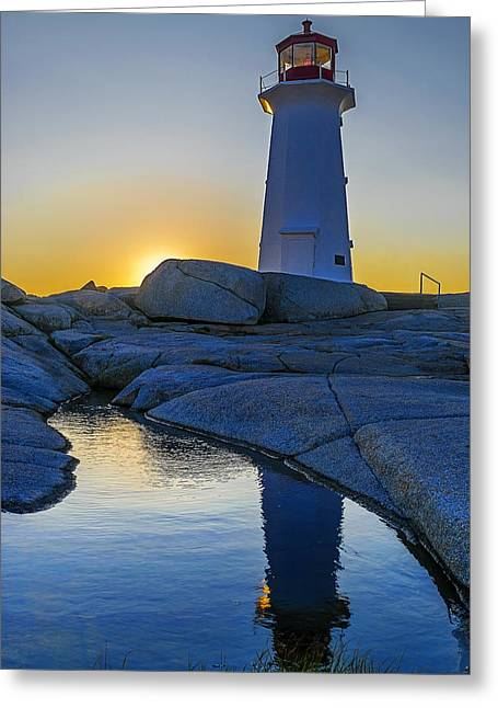 Lighthouse At Sunset Greeting Card by Ken Morris