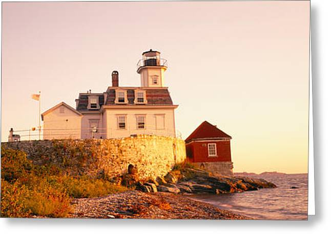 Lighthouse At The Coast, Rose Island Greeting Card by Panoramic Images