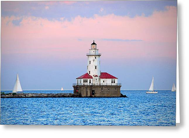 Lighthouse At The Navy Pier Greeting Card by Lynn Bauer