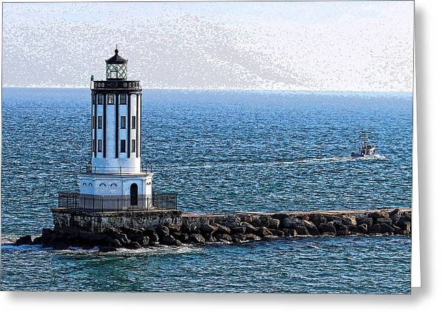 Lighthouse At The Port Of Los Angeles Greeting Card
