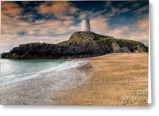 Lighthouse Beach Greeting Card by Adrian Evans