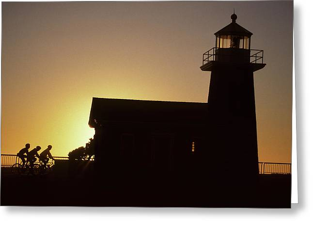 Lighthouse, Bicycling, Sunset, Santa Greeting Card by Gerry Reynolds