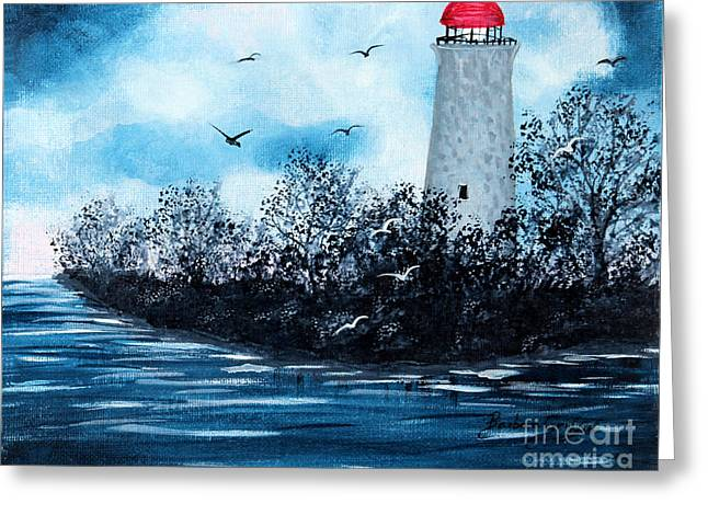 Lighthouse Blues Greeting Card by Barbara Griffin
