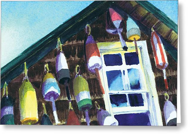 Greeting Card featuring the painting Lighthouse Buoys Maine by Susan Herbst