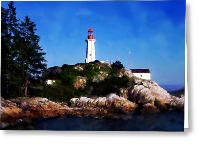 Greeting Card featuring the digital art Lighthouse by David Blank