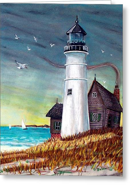 Lighthouse Greeting Card by Debbie Baker