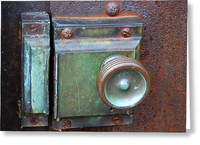 Lighthouse Door Latch Greeting Card by David T Wilkinson