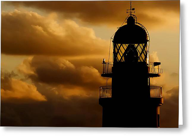 lighthouse dawn in the north coast of Menorca Greeting Card by Pedro Cardona