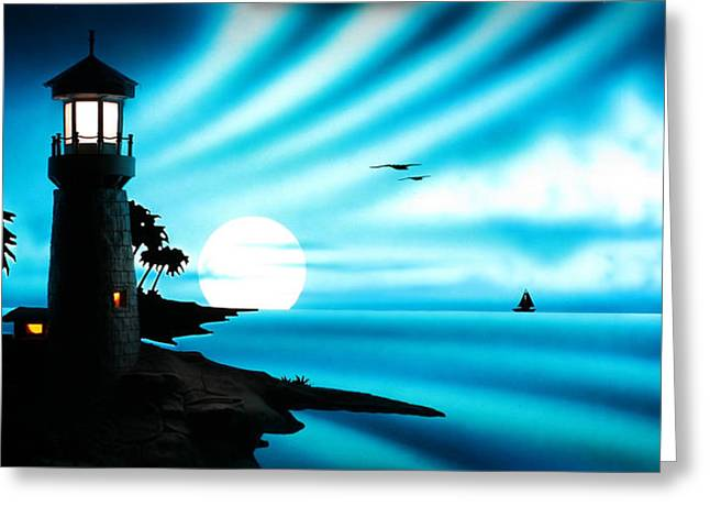 Lighthouse Greeting Card by Frank Parrish