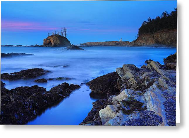 Lighthouse From Sunset Bay Greeting Card