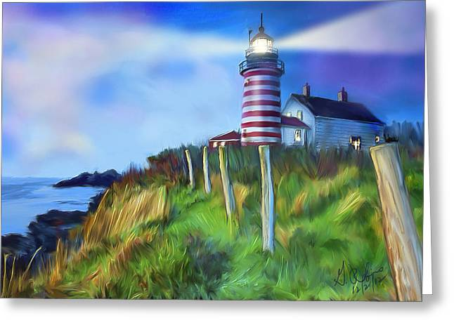 Lighthouse Greeting Card by Gerry Robins