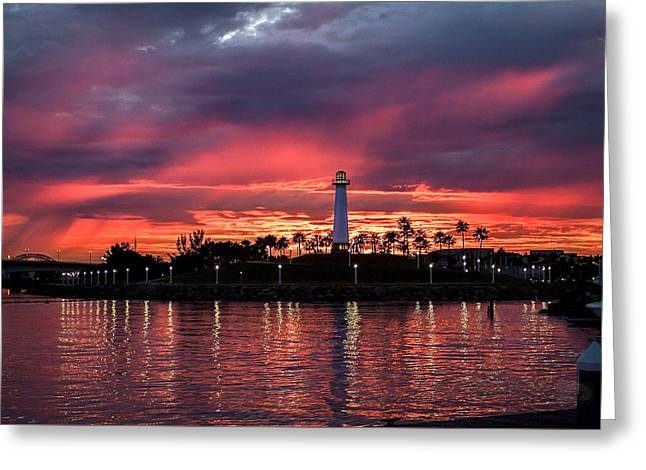 Lighthouse In A Fire Sky For Sale Version By Denise Dube Greeting Card