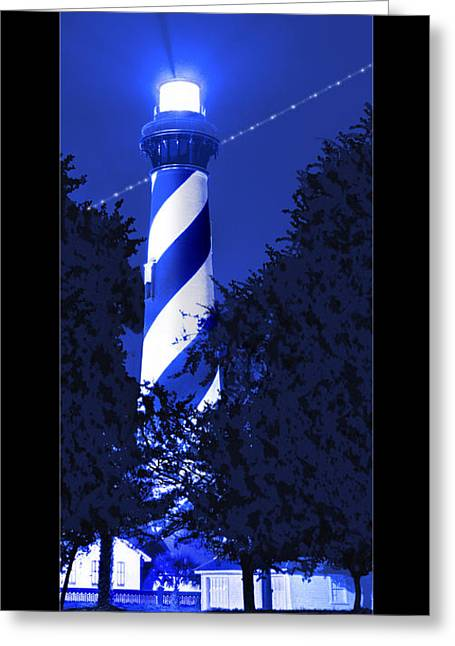 Lighthouse In Blue Greeting Card by Mike McGlothlen