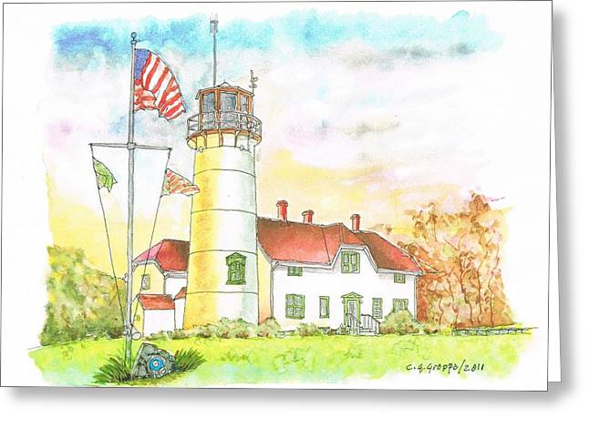 Lighthouse In Cape Code - Massachussetts Greeting Card