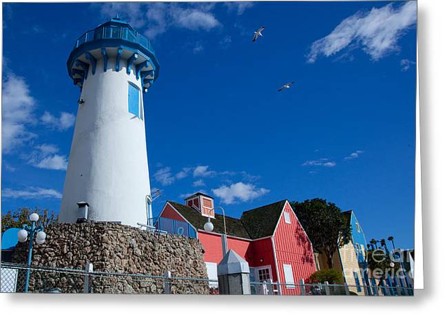Lighthouse In Fisherman's Village Greeting Card