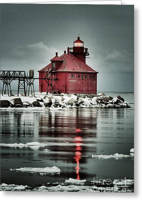 Lighthouse In The Darkness Greeting Card