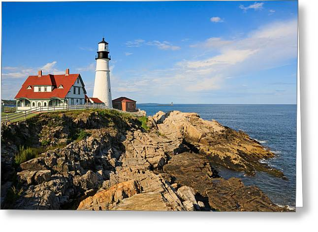 Lighthouse In The Sun Greeting Card