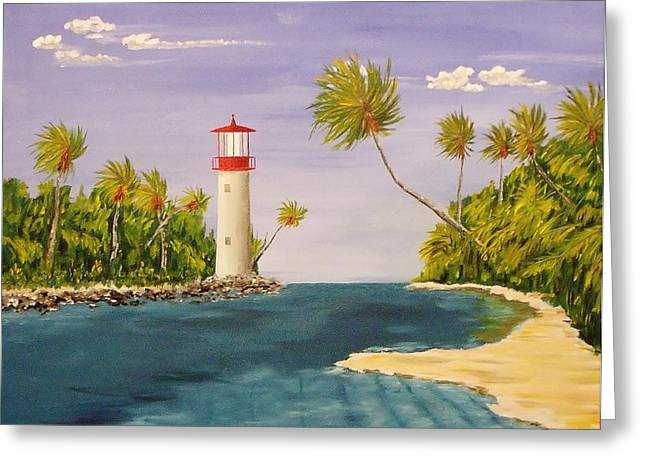 Lighthouse In The Tropics Greeting Card