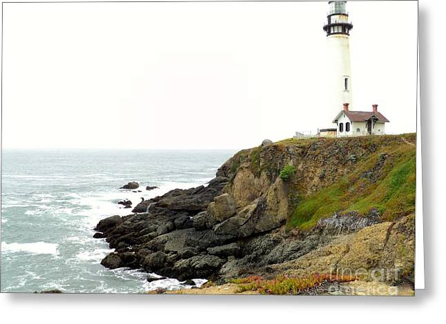 Lighthouse Keeping Watch Greeting Card by Carla Carson