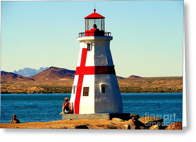 Lighthouse Lake Havasu Greeting Card by John Potts