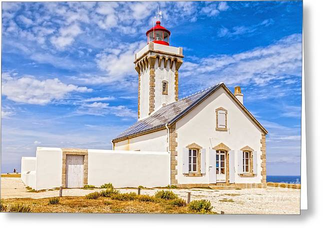 Lighthouse Les Poulains Belle Ile Brittany France Greeting Card