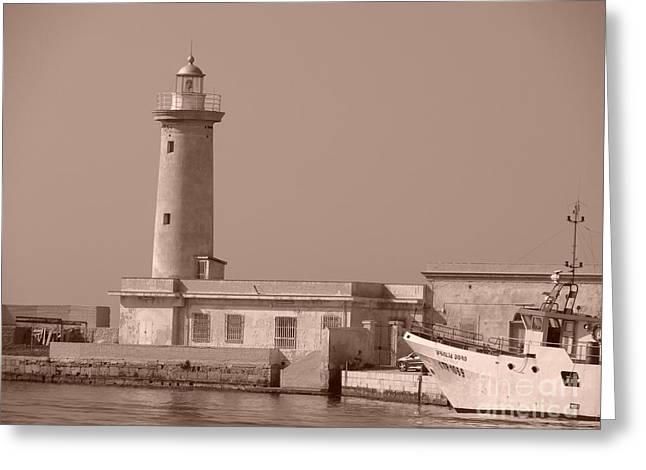 Lighthouse Marsala Greeting Card