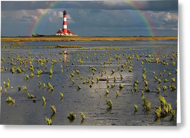 Lighthouse Meets Rainbow Greeting Card