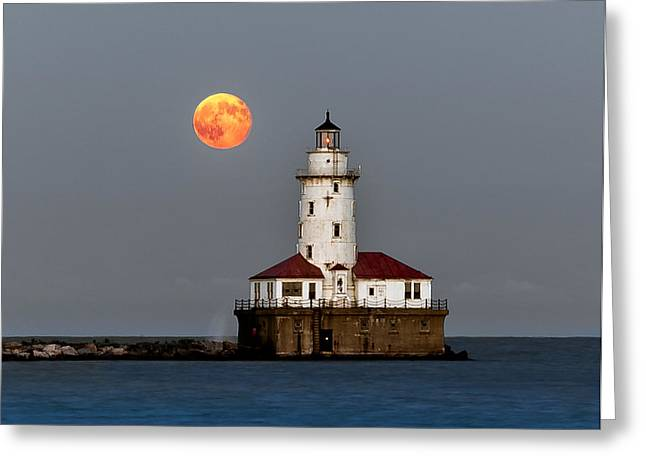 Lighthouse Moon Greeting Card by John Harrison