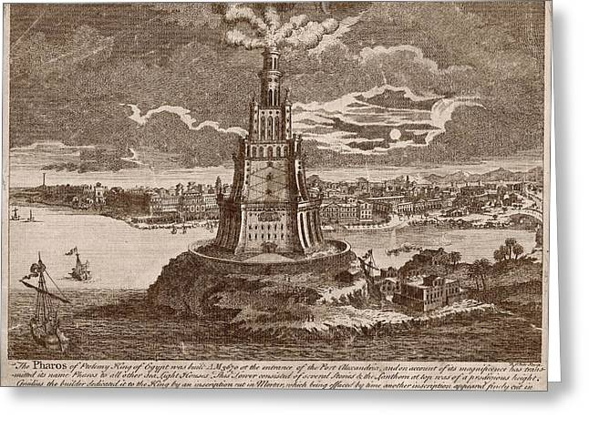 Lighthouse Of Alexandria Greeting Card by Mid-manhattan Picture Collection/new York Public Library