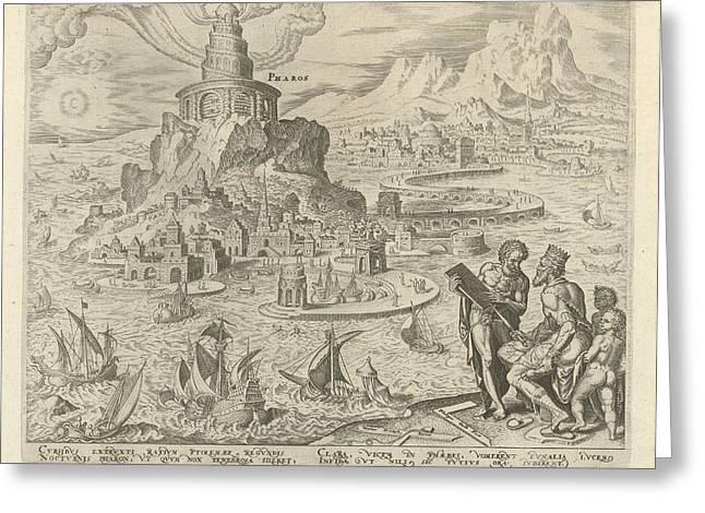 Lighthouse Of Alexandria, Philips Galle, Hadrianus Junius Greeting Card