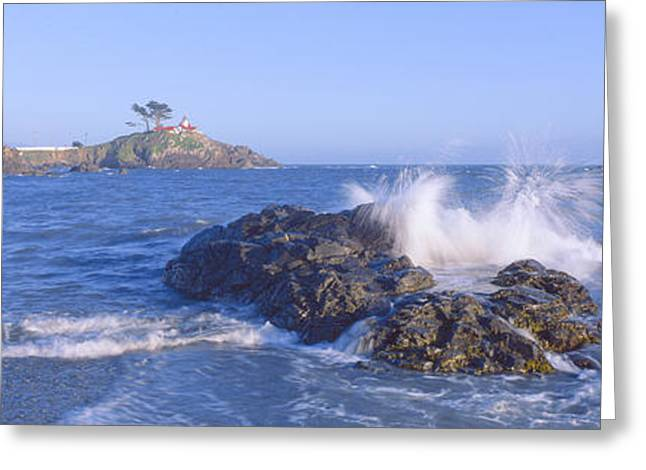 Lighthouse Off Front Street, Crescent Greeting Card by Panoramic Images
