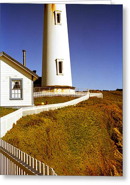 Lighthouse On A Cliff, Pigeon Point Greeting Card by Panoramic Images