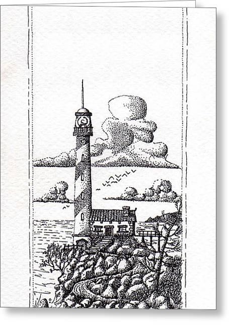Lighthouse On A Cliff Pointillist Greeting Card