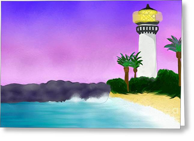 Lighthouse On Beach Greeting Card by Anita Lewis