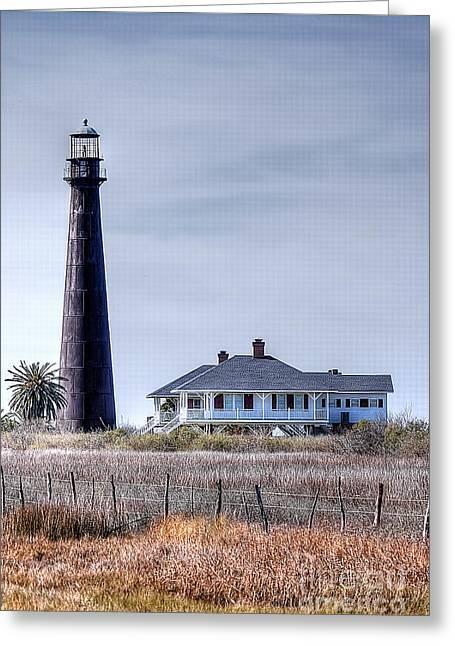 Lighthouse On Bolivar Peninsula Greeting Card