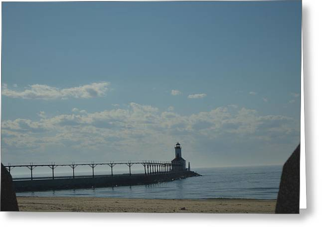 Lighthouse On Clear Day. Greeting Card by Cim Paddock