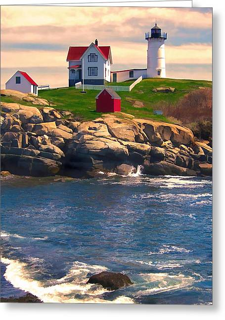 Lighthouse On Coast At Sunset Greeting Card by Elaine Plesser