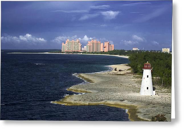 Lighthouse On Colonial Beach With Atlantis Paradise Resort Bahamas Greeting Card